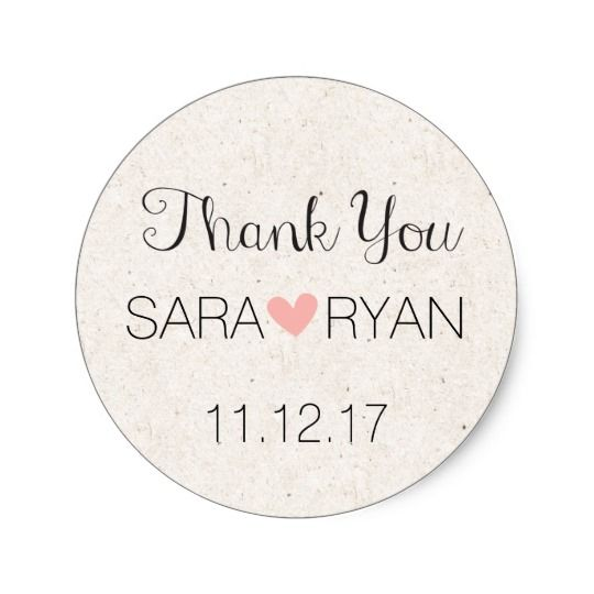 Personalized thank you stickers wedding favours round sticker