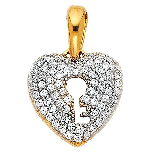Love Necklace Charm Women Men 14K Solid Yellow Gold CZ Key To My Heart Pendant