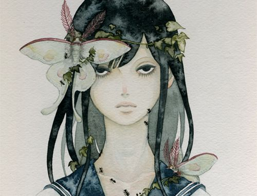 creepy girl with butterflies illustration  -ne0nrebel