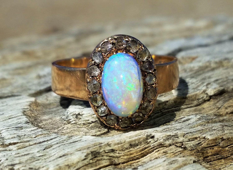 Vintage Antique Opal Rose Cut Diamond Unique Engagement Ring 18k Rose Gold Victorian Diamond Halo by DiamondAddiction on Etsy