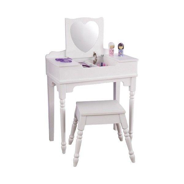 coiffeuse et tabouret en forme de coeur pour petite fille jeux et veil by decoloopio. Black Bedroom Furniture Sets. Home Design Ideas
