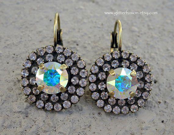 9d093a5d2 Aurora Borealis Swarovski Crystal Lever Back Statement Earrings, Iridescent  Rainbow Crystal Bridesmaid Dangle Earrings, Crystal Drop Earring