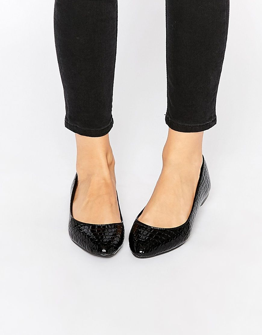 Image 1 ofNew Look Wide Fit Patent Croc Effect workwear Flat Shoes