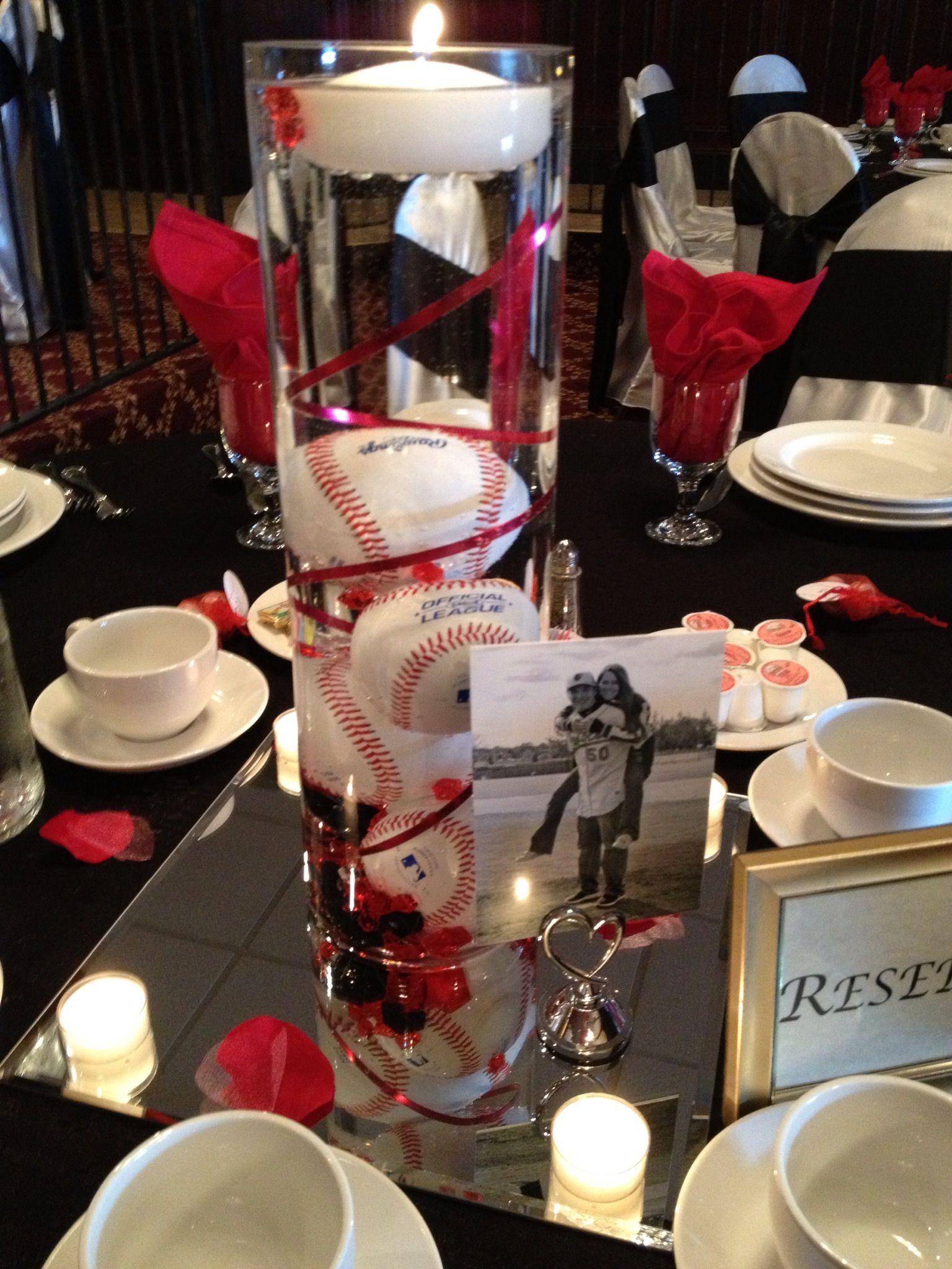 Baseball Vase Centerpiece