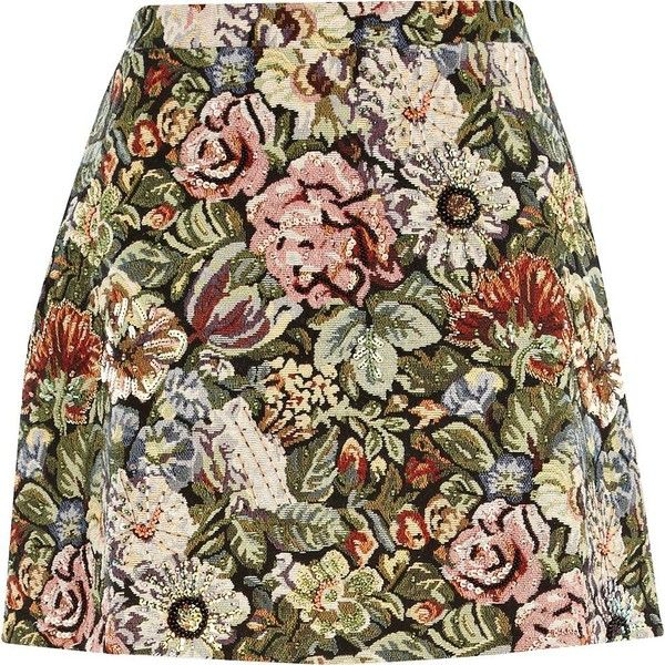 River Island Green tapestry A line skirt (€22) ❤ liked on Polyvore featuring skirts, mini skirts, bottoms, saias, faldas, sale, mini skirt, green mini skirt, short skirts and brown mini skirt
