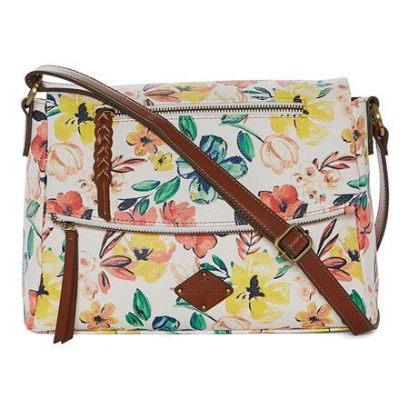 St. John's Bay Linda Flap Crossbody Bag, One Size , Yellow