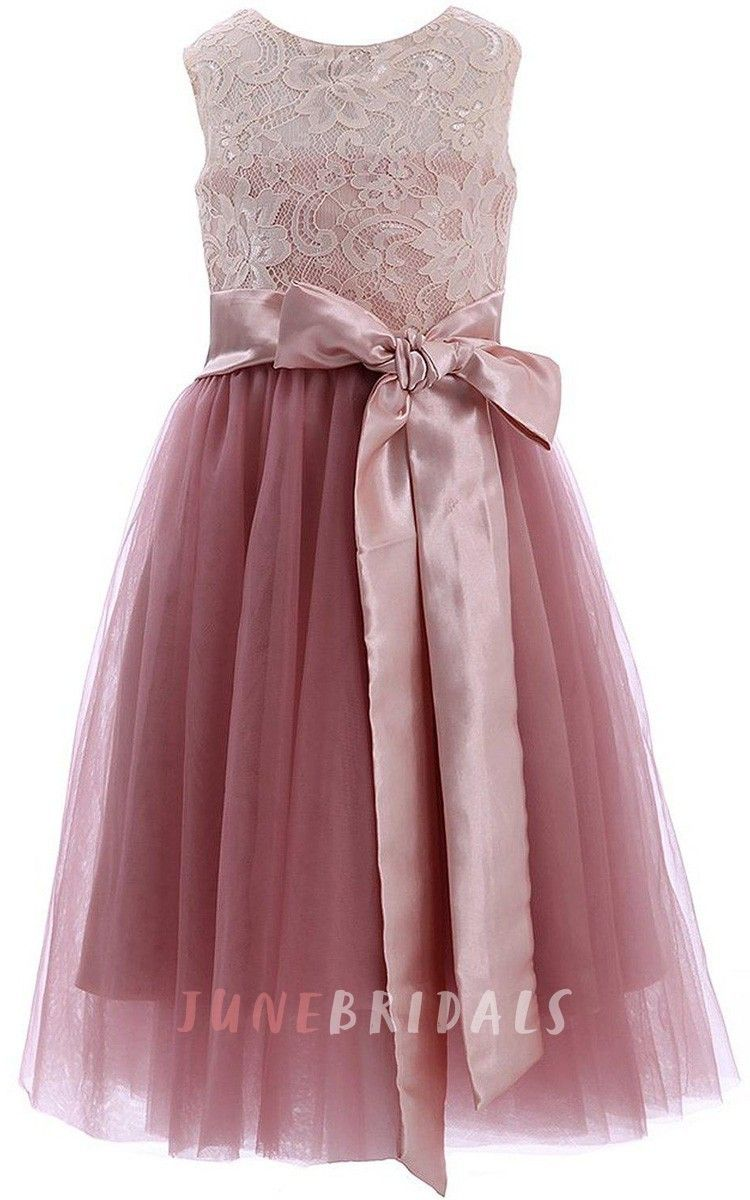 Sleeveless aline lace dress with bows and keyhole back for my