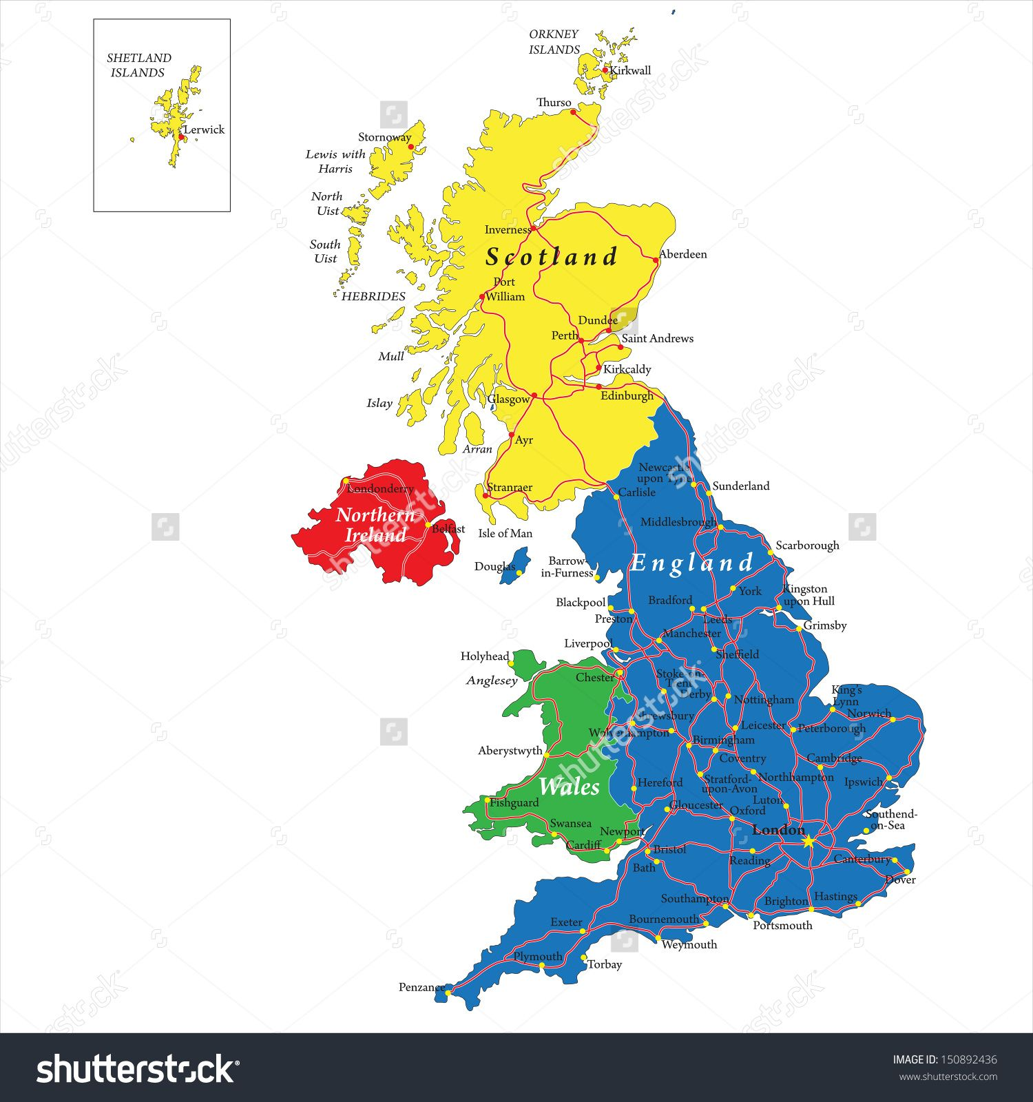 ireland political map england stock updated