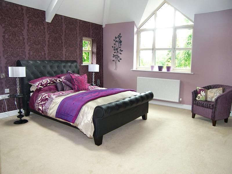 photo of beige pink purple white bedroom master bedroom