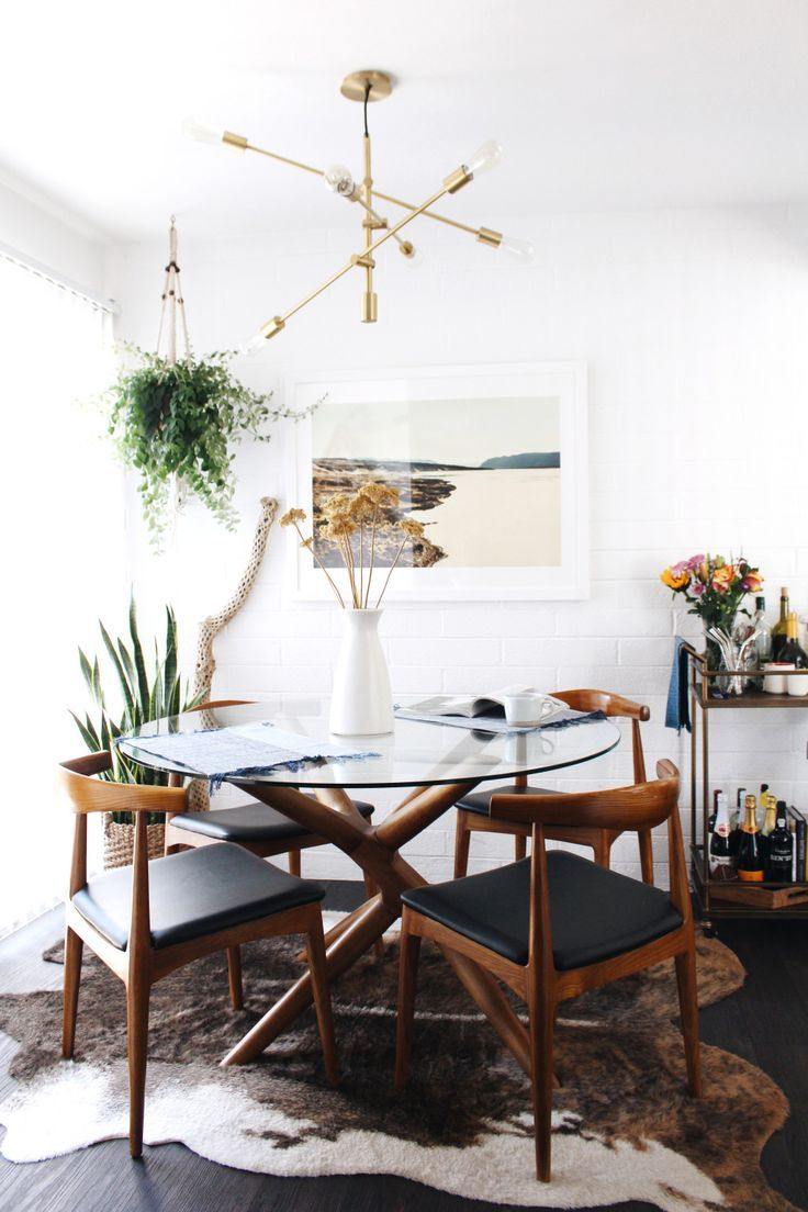 Dining Room Decor Ideas Small Modern Eclectic Bohemian Style With Round Gl Topped Table Sputnik Light Fixture Wood And Leather Chairs