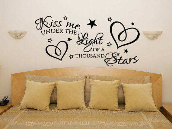 Kiss Me Under The Light Of A Thousand Stars Wall Quotes Bedroom Wall Decor Above Bed Under The Lights Wall Stickers