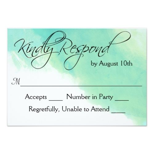 Destination Wedding Rsvp Ocean Blue Watercolor And Calligraphy Card