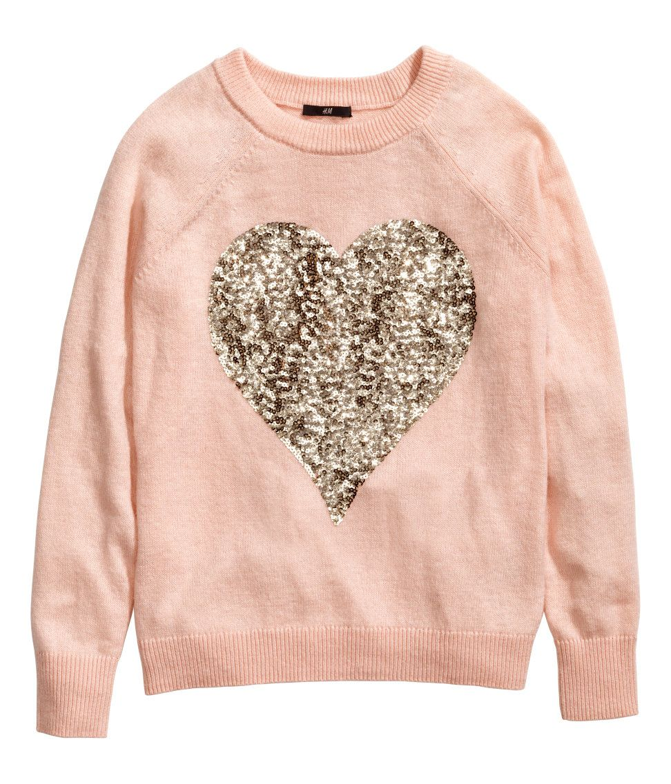 6351de244808 Light pink fine-knit sweater with long sleeves   gold sequin heart ...