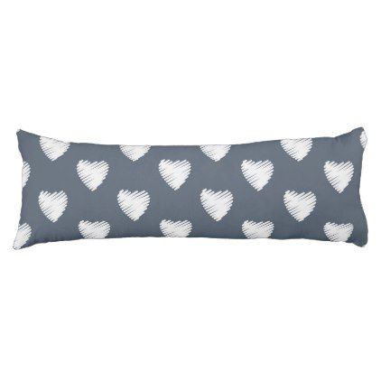 White Hearts on Navy Blue Body Pillow - patterns pattern special unique design gift idea diy