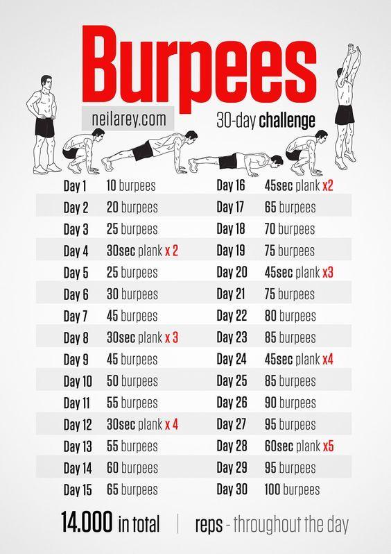 30 day burpees challenge workout fitness gym. Black Bedroom Furniture Sets. Home Design Ideas
