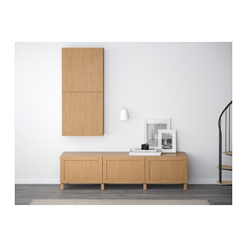 BESTÅ Storage combination with drawers - Hanviken oak effect, drawer runner, soft-closing - IKEA