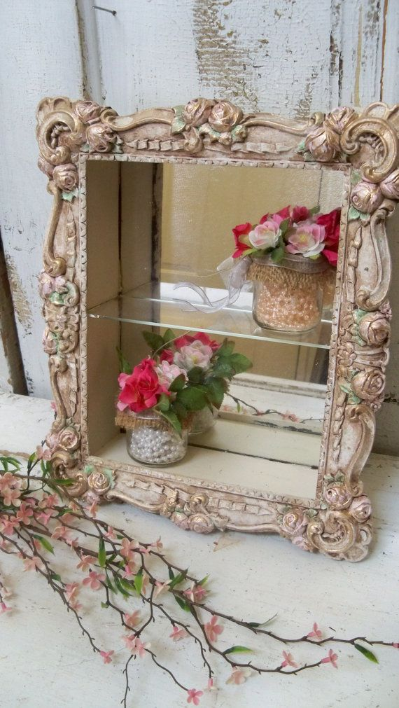 vintage shadow box shelf shabby chic by anitasperodesign. Black Bedroom Furniture Sets. Home Design Ideas
