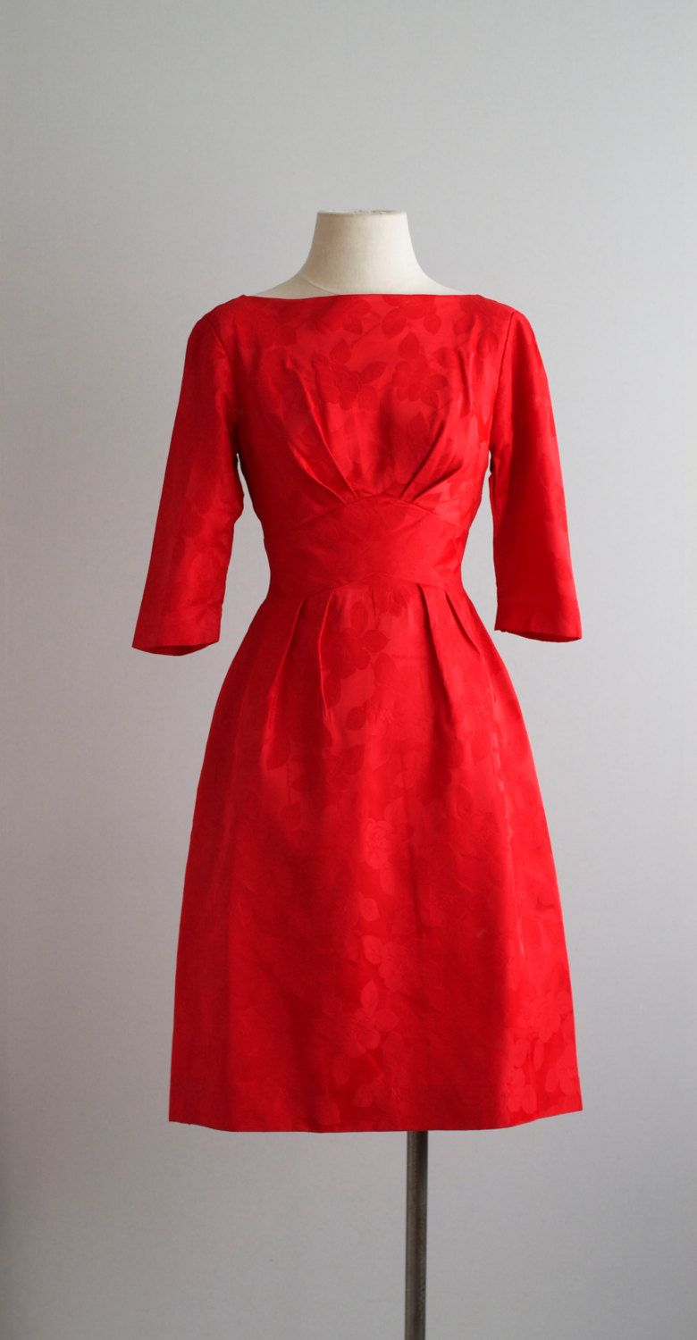 50s Dress 1950s Party Cocktail Dress Roses Are Red Dress Etsy Simple Red Dress Red Dress 1950s Party Dresses [ 1500 x 780 Pixel ]
