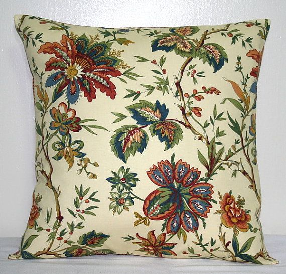 Beige and Red Waverly Floral Pillow Covers 18 inch Decorative Pillows Accent Pillow Throw Pillows