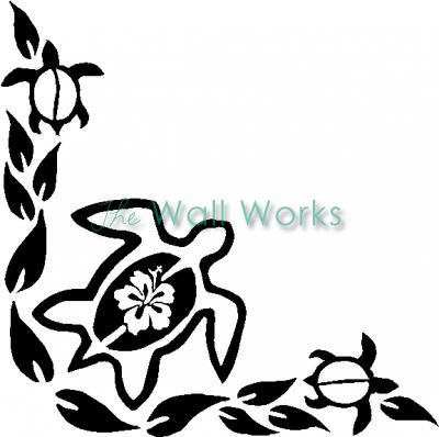 Turtle Flowers 1 Wall Sticker Vinyl Decal Turtle Silhouette Vinyl Decals Silhouette Cameo Crafts