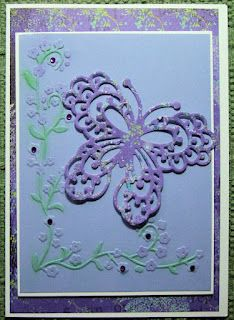 Another butterfly card by Marianne, using the die, some paper from Memory Box, and other embellishments