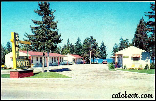 Surf Motel Vintage Postcard Mackinaw City Michigan Vintage Michigan Vintage Postcards Postcard