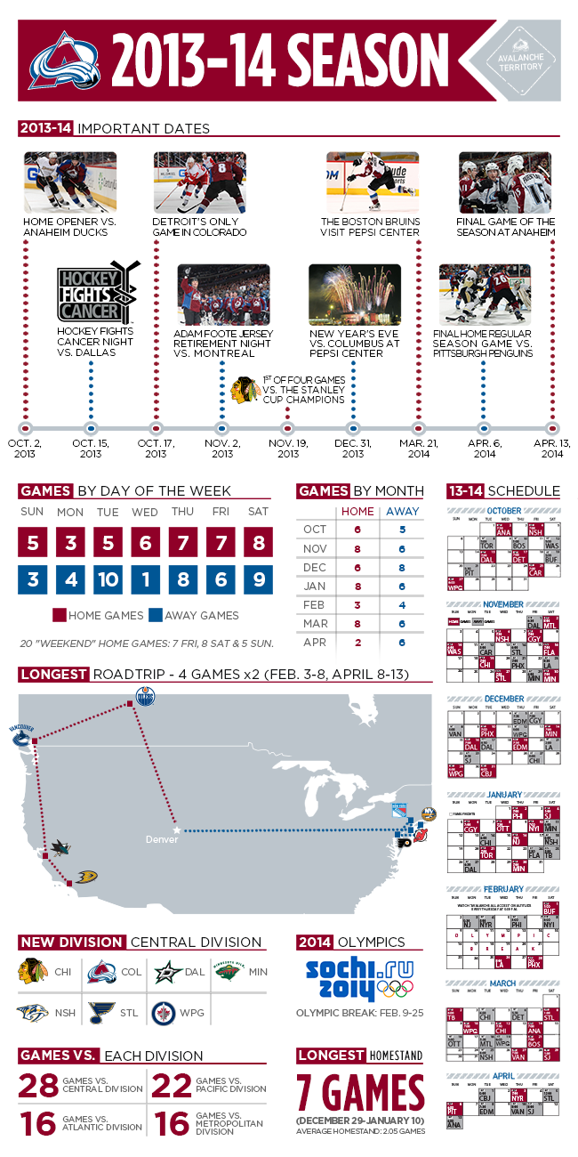 Check Out The  Avs Schedule In Highlight Form  Nhl