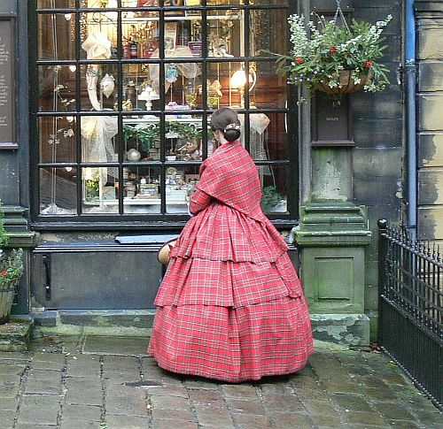 1850s red tartan gown by Abigial709b