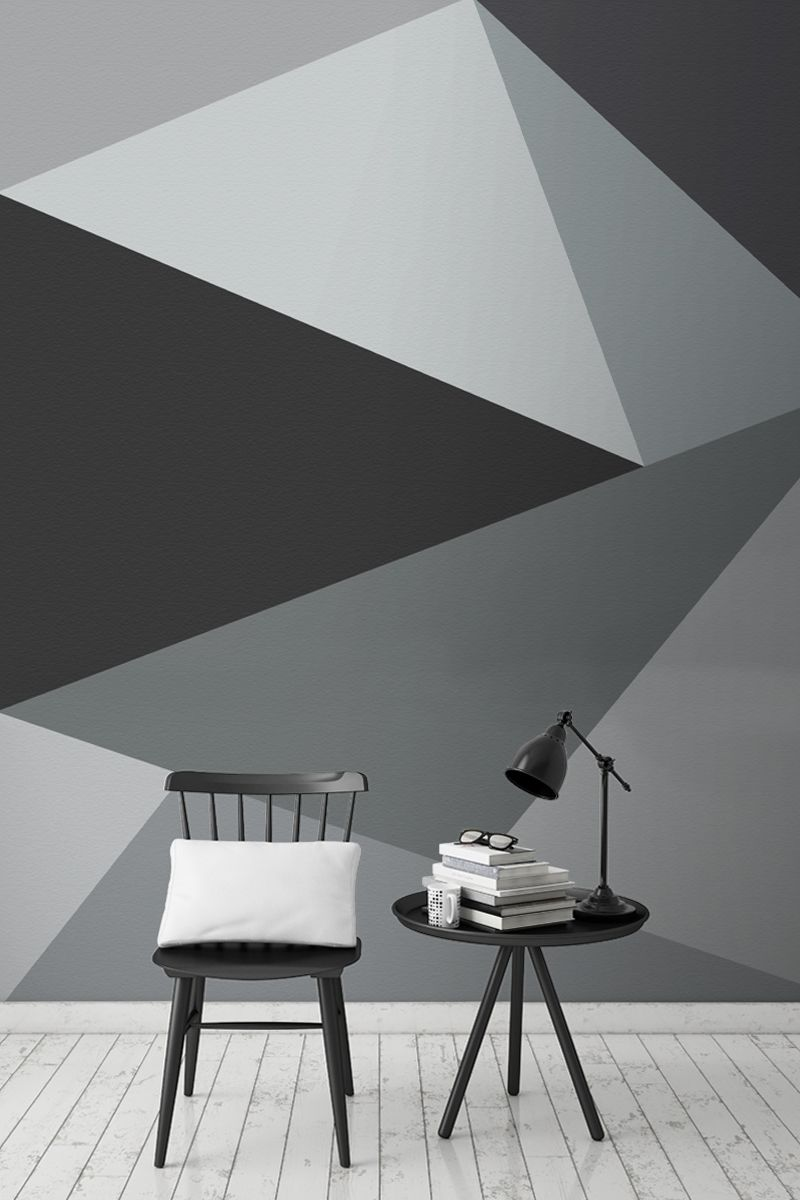 Convex wall mural living space geometric wall paint - Designer wall paints for living room ...