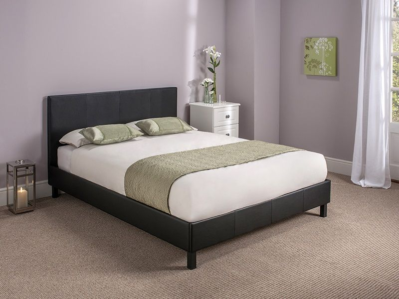 Black leather bed £79 | New Home | Pinterest