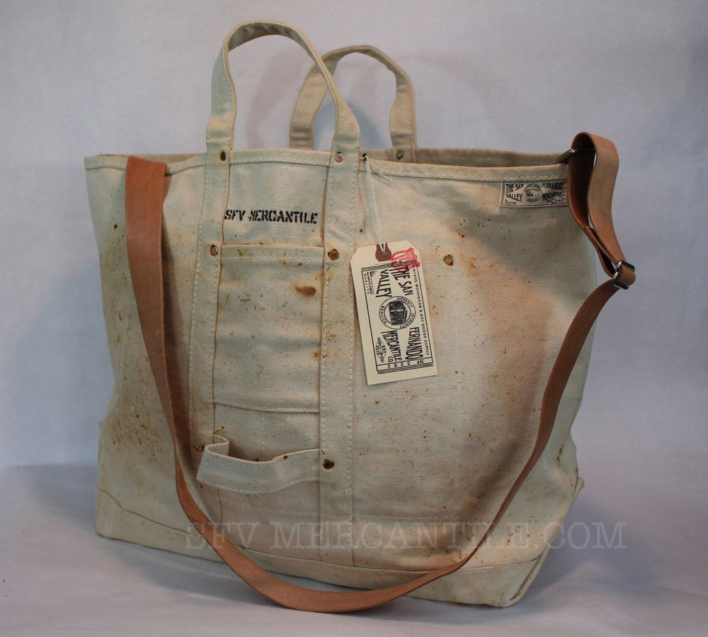 SFV MERCANTILE HD Riveted Canvas Bag in Vintage Wash With Adjustable Leather Shoulder Strap