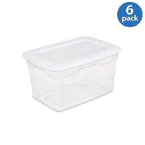 Set Of 6 White Sterilite 5 Gallon 20 Quart Storage Box Containers