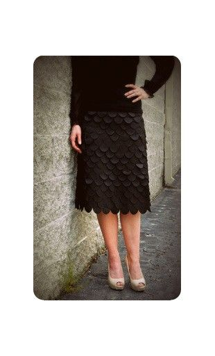 Directional Yet Demure Clothing For The Cool Modern Woman: Modest Womens Midi Length True Mermaid Fish Scale Pencil