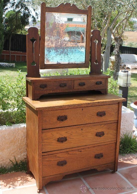 Antigua c moda inglesa en madera de nogal con espejo - Comoda con espejo ...