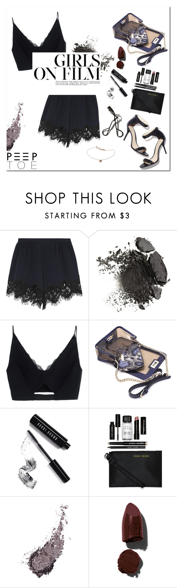 """Spring Night Look"" by mjangirashvili ❤ liked on Polyvore featuring Chloé, Versace, Mohzy, Bobbi Brown Cosmetics, Lipstick Queen, Garance Doré and Jacquie Aiche"