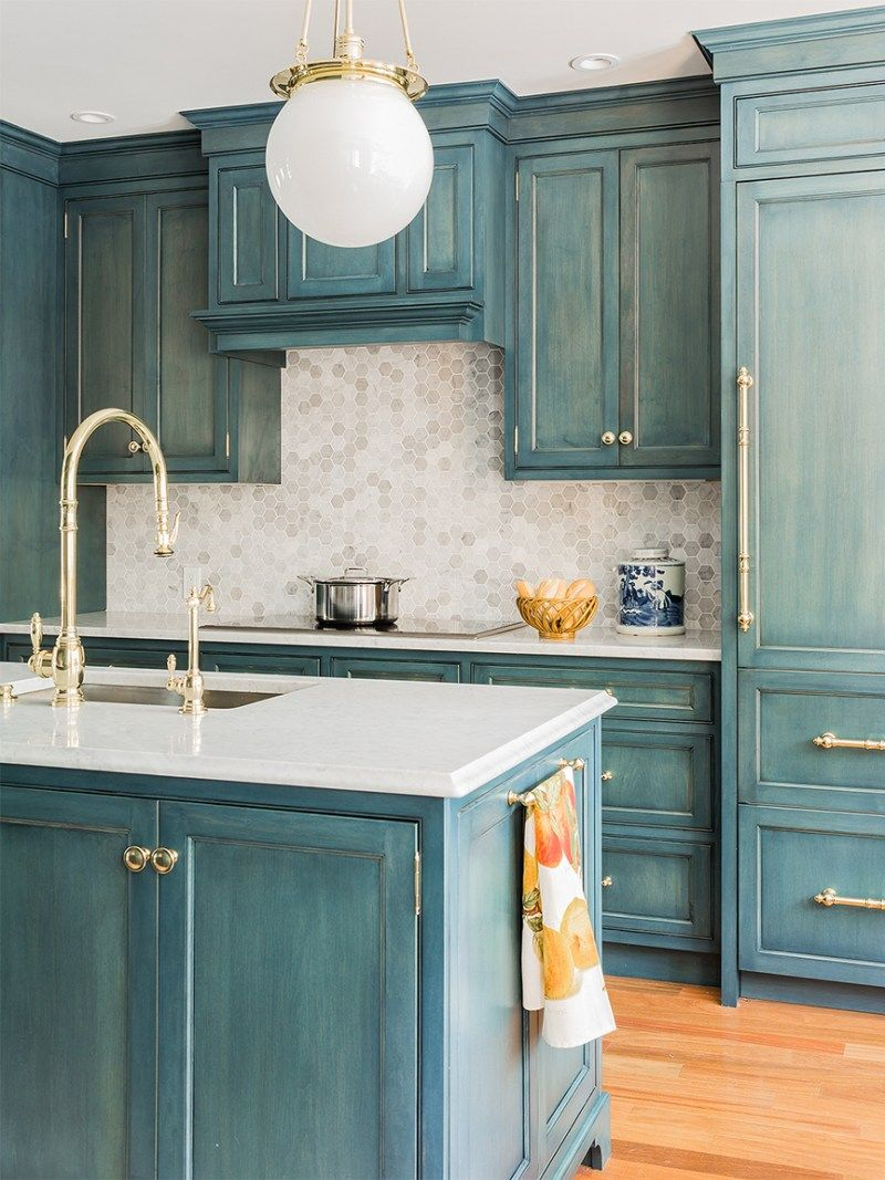 5 Distressed Kitchen Cabinets That Really Bring The Charm In 2020 Distressed Kitchen Cabinets Turquoise Kitchen Cabinets Beautiful Kitchen Cabinets