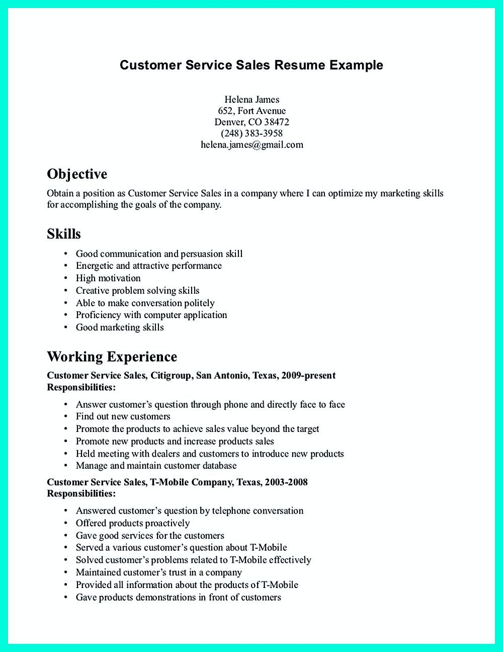 CSR resume or Customer Service Representative resume, include the ...