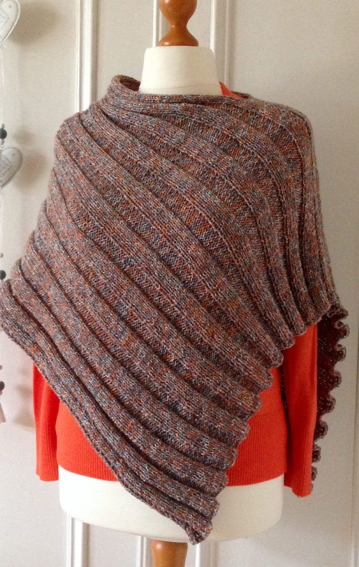 Free Knitting Pattern For Easy Peasy Poncho Knit Flat In One