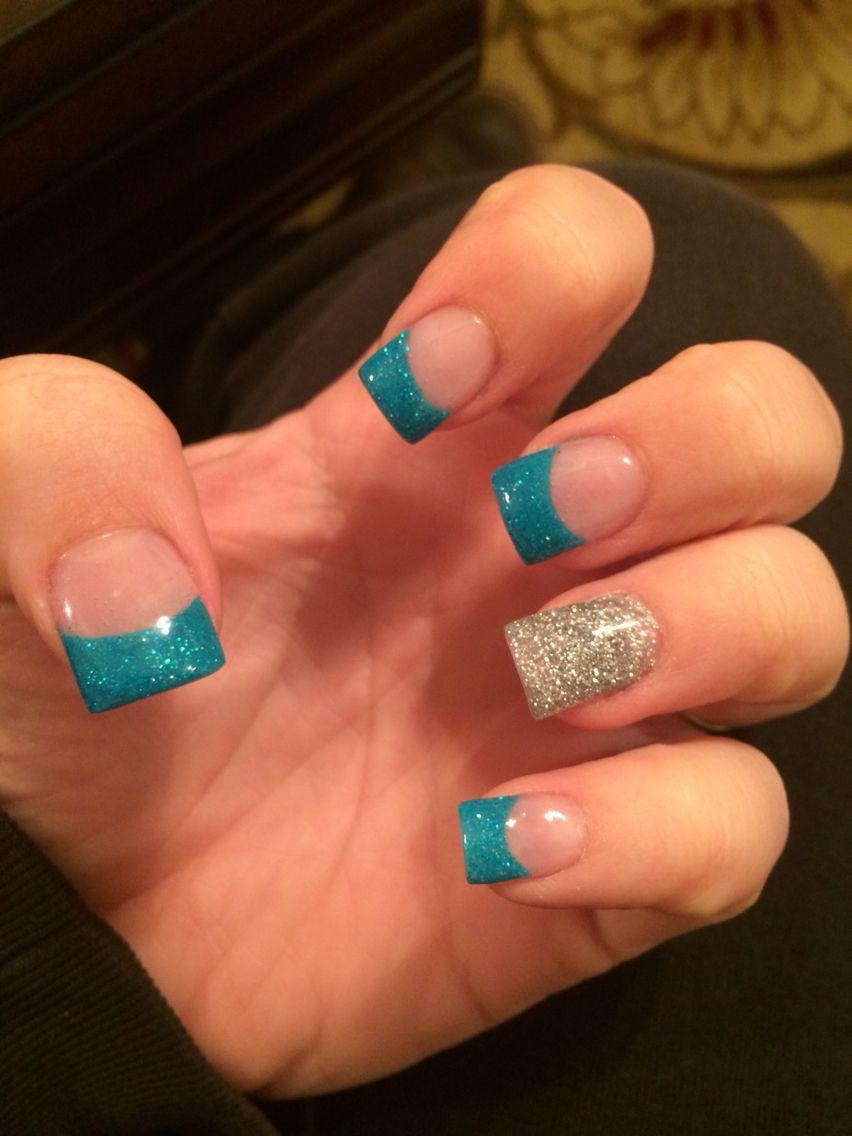 Teal and silver acrylic nails. Teal Nail DesignsFrench Tip ... - Teal And Silver Acrylic Nails Makeup And Hair Pinterest