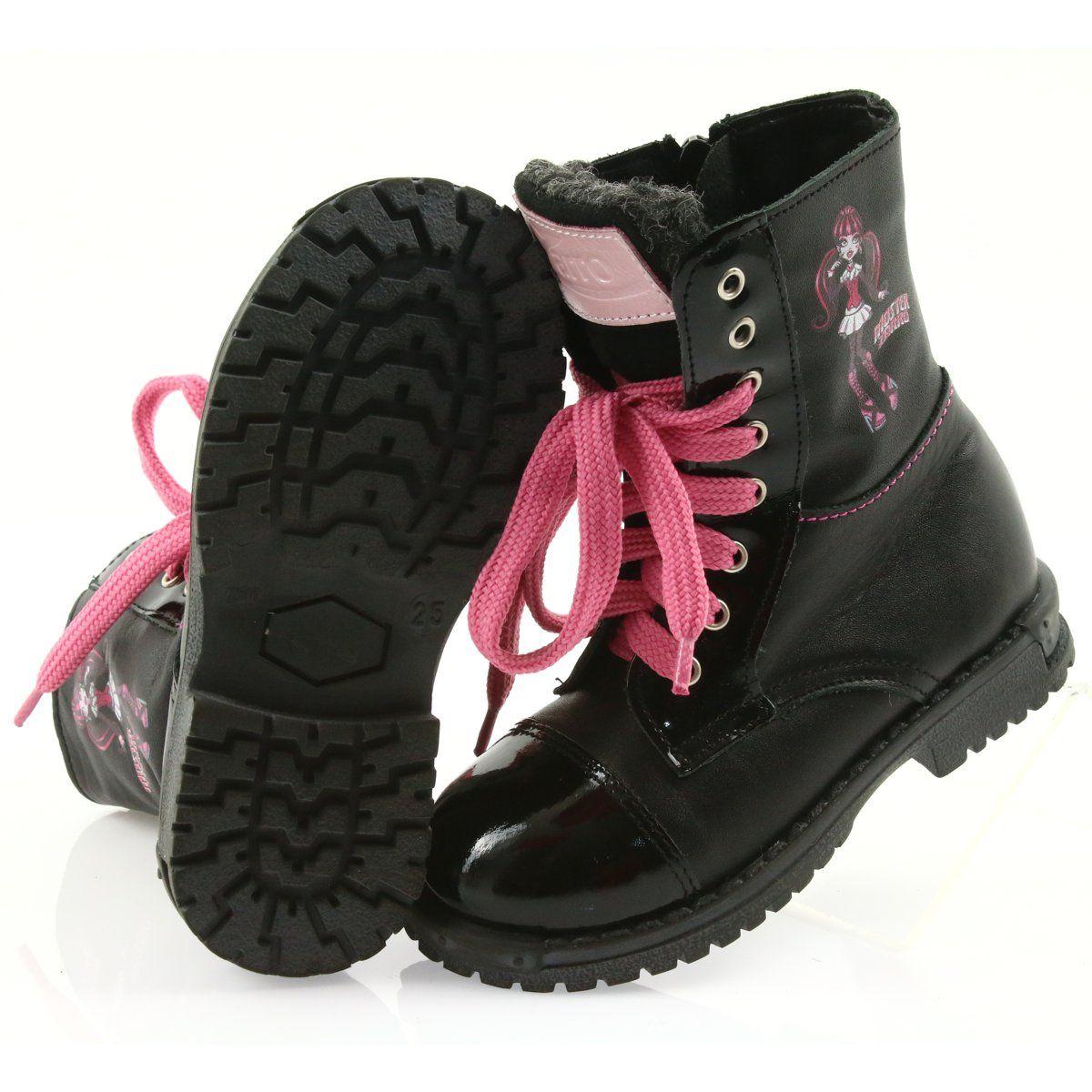 Ren But Trzewiki Buty Dzieciece Zarro 38 01 Czarne Rozowe Kid Shoes Childrens Boots Boots
