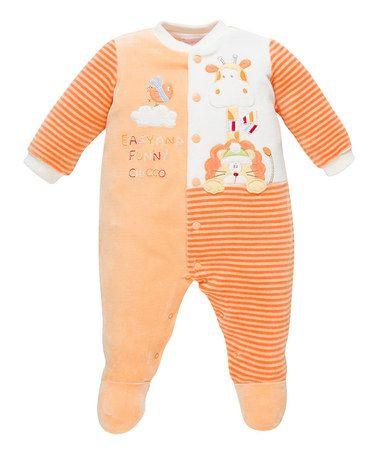 5ac33d22f299 Look at this  zulilyfind! Orange Stripe Velour Footie - Infant ...