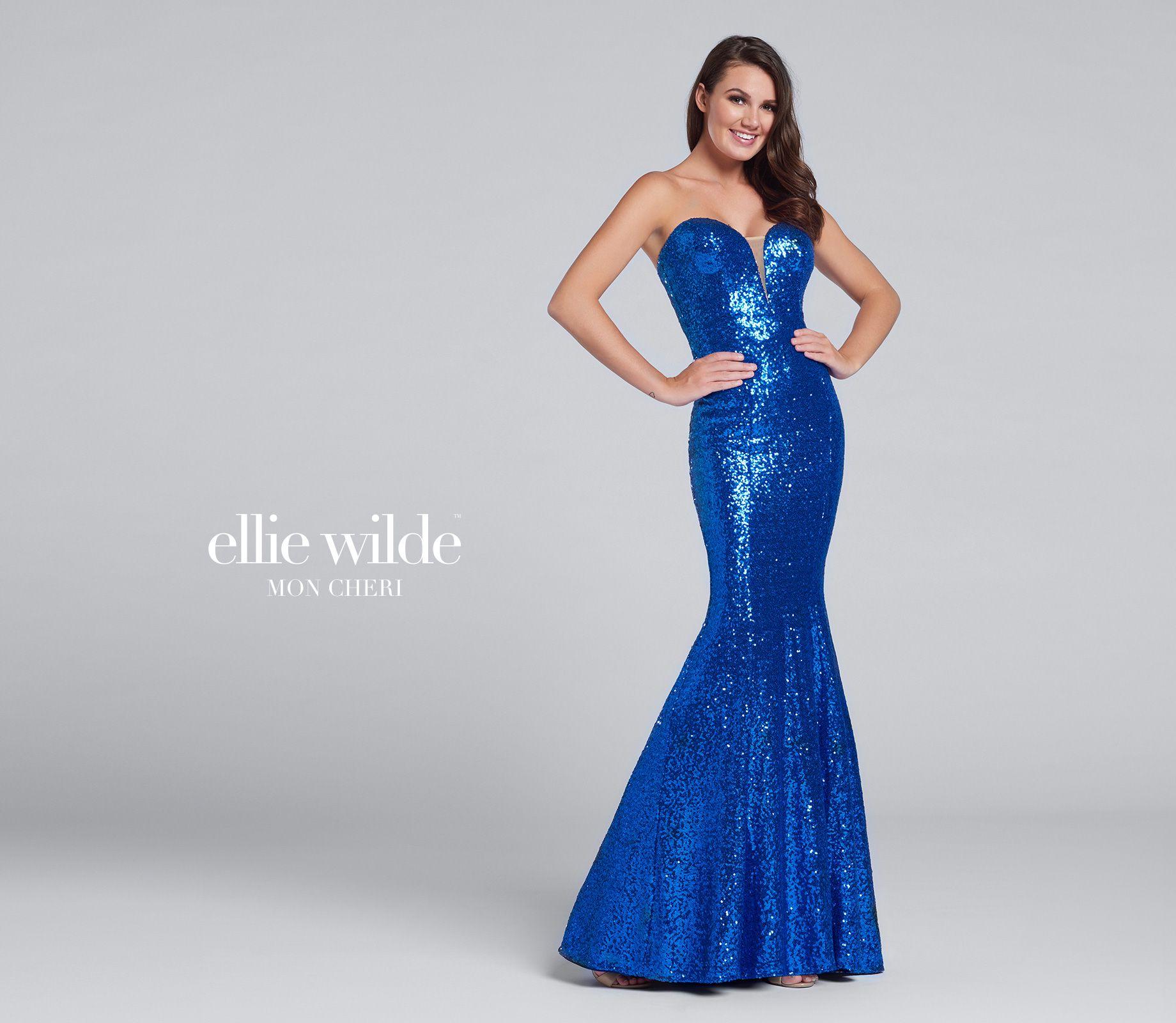 Strapless sequin fit u flare sweetheart prom dress ew