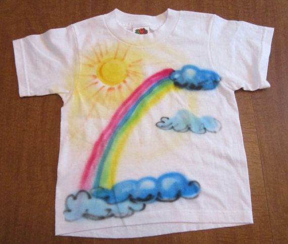 dbfc6f621 Girl's Rainbow T shirt size 2 to 4 Airbrushed wearable by Witzzend, $5.00