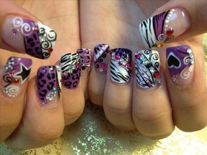 Print Unique Purple Acrylic Nail Designs : Download Yellow And ...
