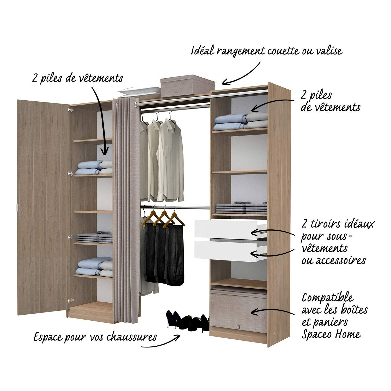 Kit Dressing Effet Chene Naturel Dresscode H 220 X L 220 X P 50 Cm Rangement Amenagement Maison Dressing Chambre