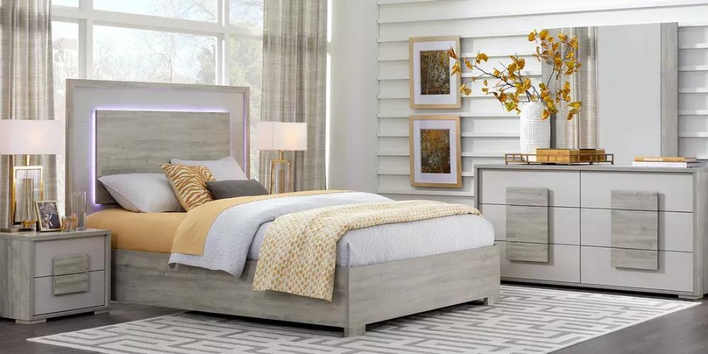 Studio Place Silver 7 Pc Queen Bedroom King Size Bedroom Furniture Sets Contemporary Bedroom Sets King Bedroom