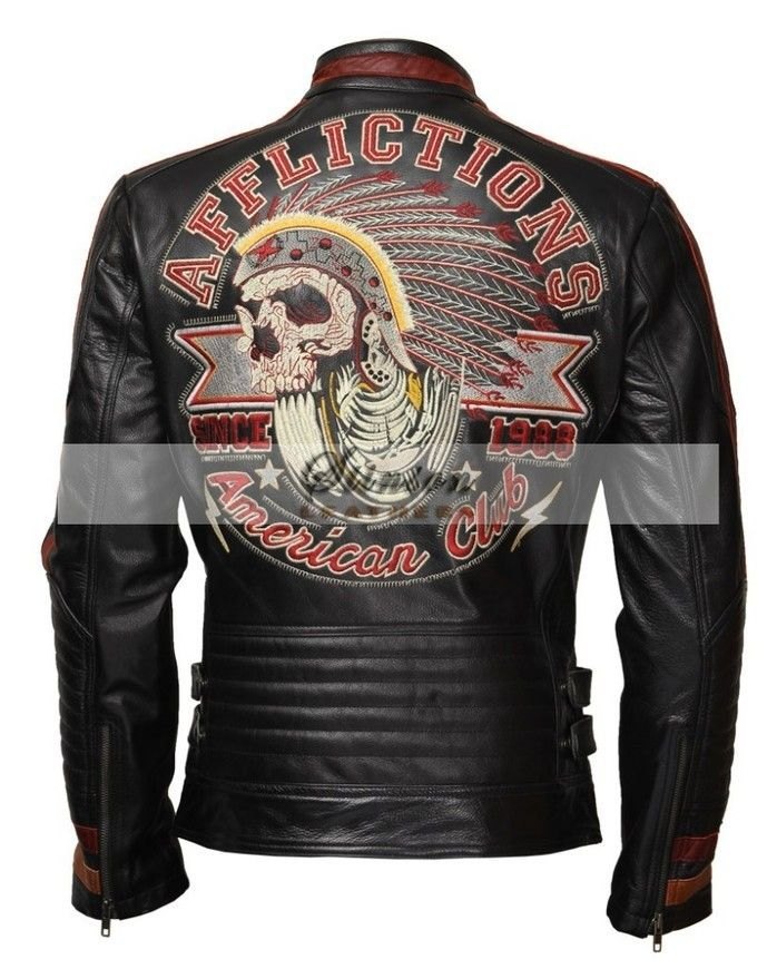 4b2d426c48f AMERICAN MOTOR CLUB COWHIDE LEATHER BIKER JACKET WITH 3D EMBROIDERY A  Superb and Classic design for all the biker fans. This extraordinary jacket  will take ...