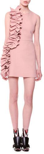 MSGM Sleeveless Stretch Crepe Ruffle-Trim Mini Dress, Blush