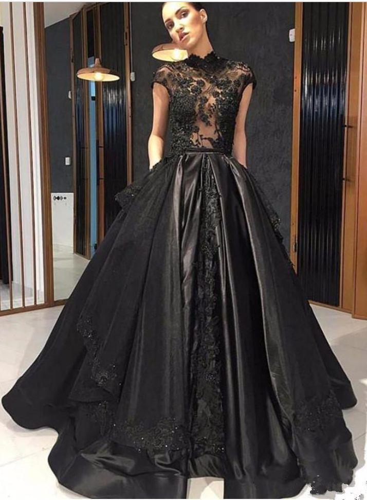 black lace formal celebrity evening dresses high neck see