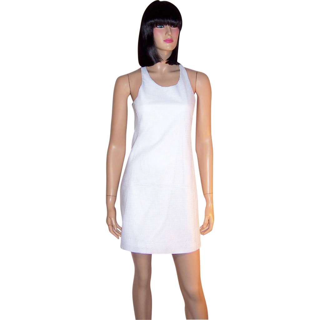 White Cut-Leather Shift Dress with Racer Back